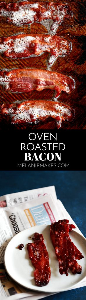 This Oven Roasted Bacon is the easiest and less messy way to make bacon. EVER. Forget spattering grease and standing over a screaming hot stovetop. In just 15 minutes, you can have perfectly crisp bacon with hardly any effort! #bacon #breakfast #roasted #oven #pork #brunch