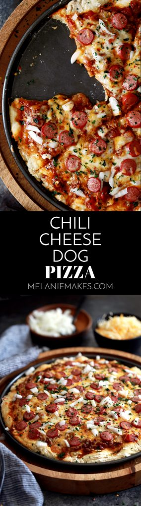 This Chili Cheese Dog Pizza begins with a homemade pizza dough layered with hearty chili and  shredded Mexican cheese before being topped with sliced hot dogs.  It's then garnished with chopped onion and cilantro before being cut into wedges and served.  Easy enough for any weekday, yet the perfect way to kick off a weekend. #chili #cheese #hotdog #pizza