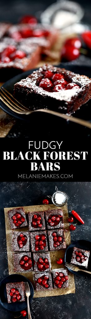 These Fudgy Black Forest Bars definitely have the rich chocolate flavor and moist, dense texture typical of fudge.  They're also the home of puddles of cherry pie filling and studded with dark chocolate chunks before being showered with powdered sugar.  The ultimate chocolate and cherry dessert combination. #chocolate #cherry #blackforest #fudge #bars #easydessert #dessert #chocolatechunk