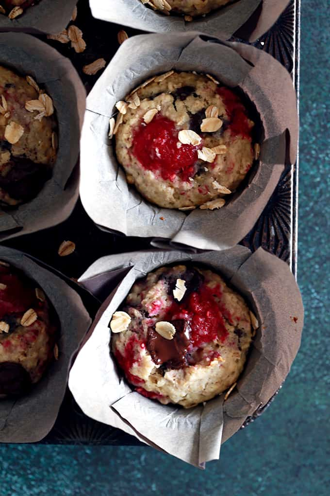 These five ingredient Raspberry Chocolate Chunk Oatmeal Muffins are totally coffee shop worthy, yet take just five minutes to prep thanks to my kitchen shortcut.