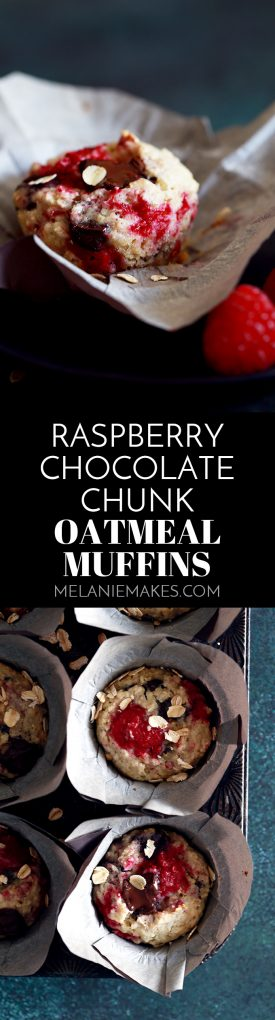 These five ingredient Raspberry Chocolate Chunk Oatmeal Muffins are totally coffee shop worthy, yet take just five minutes to prep thanks to my kitchen shortcut. #raspberry #chocolate #chocolatechunk #chocolatechip #oatmeal #muffins #breakfast #brunch #easyrecipe