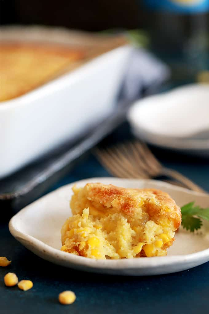 This eight ingredient Southwest Green Chile Corn Casserole is a perfect side dish option for nearly every occasion and couldn't be easier. Cumin and diced green chiles stud this velvety, comforting dish that's full of Monterey Jack cheese.