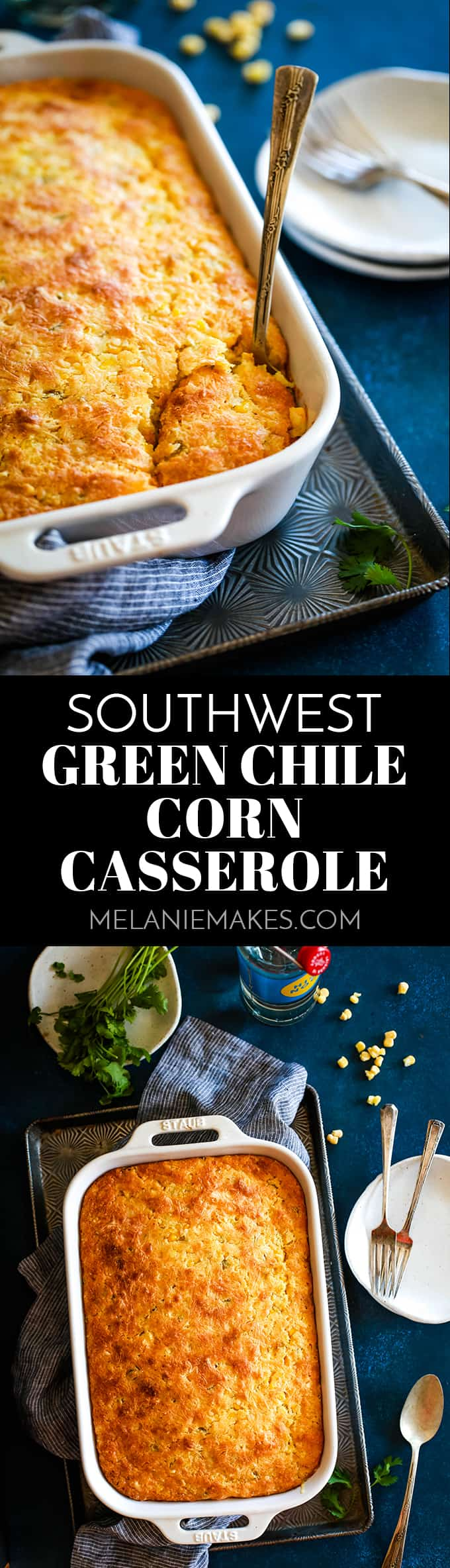 This Southwest Green Chile Corn Casserole couldn't be easier! Cumin and green chiles stud this velvety, comforting side that's full of Monterey Jack cheese. #corn #casserole #chile #sidedish #easyrecipe #southwest