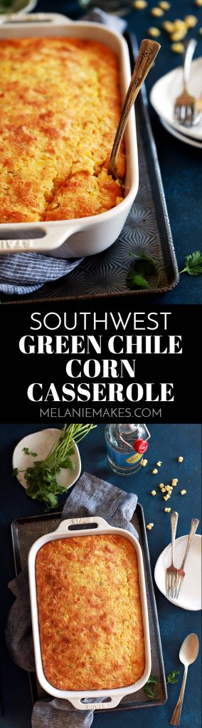 This eight ingredient Southwest Green Chile Corn Casserole is a perfect side dish option for nearly every occasion and couldn't be easier.  Cumin and diced green chiles stud this velvety, comforting dish that's full of Monterey Jack cheese. #southwest #greenchile #corn #casserole #corncasserole #sidedish #easyrecipe