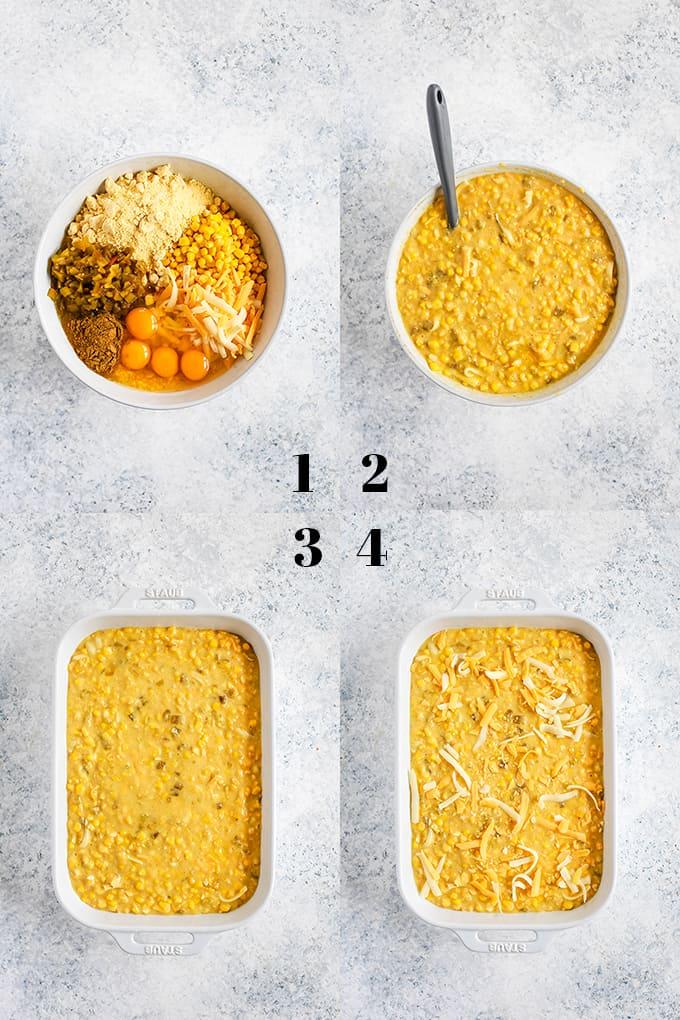 How to prepare a Southwest Green Chile Corn Casserole, steps 1-4.