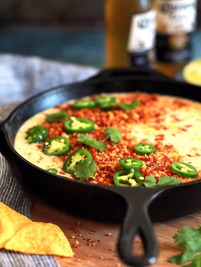Sweet Corn Queso with Pepperoni Crumbs