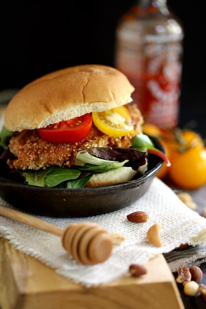Honey Sriracha Nut Oven Fried Chicken | Melanie Makes