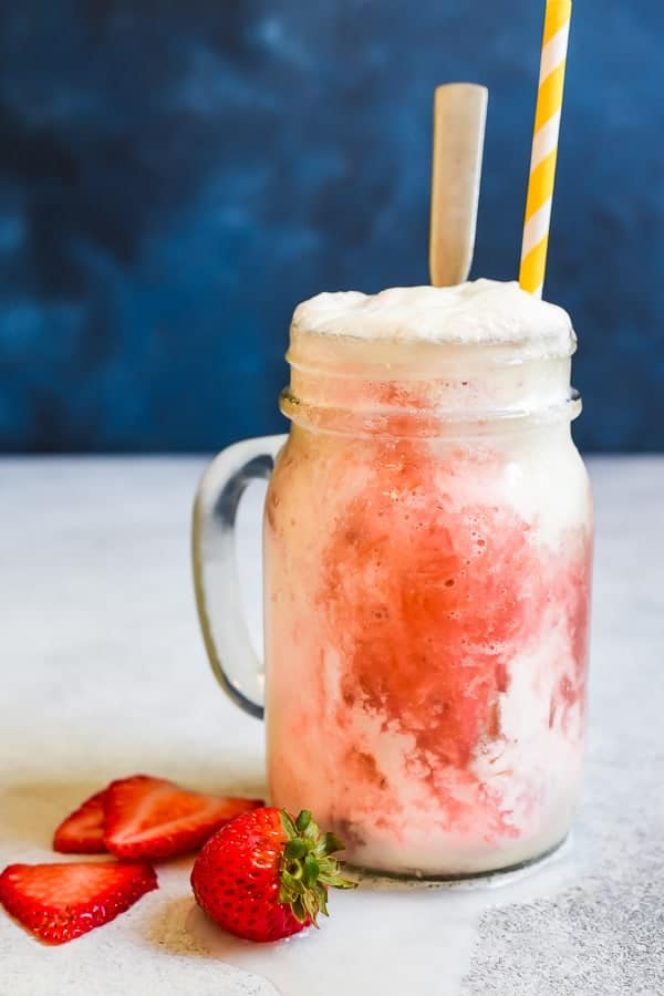 Strawberry Rhubarb Ice Cream Floats