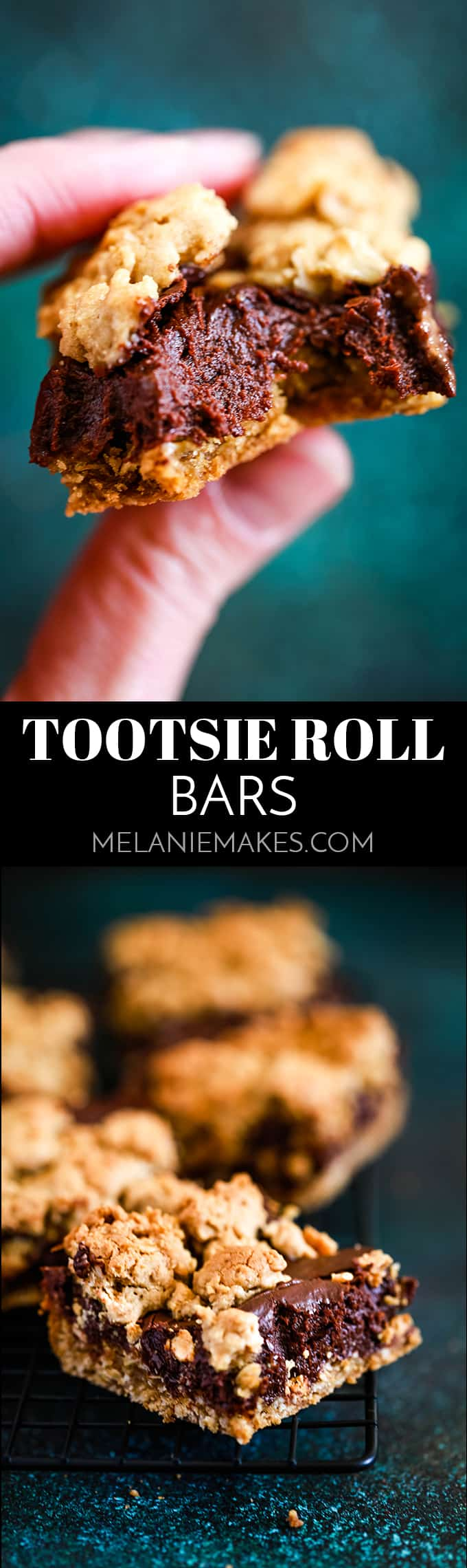 These Tootsie Roll Bars take feature an oatmeal cookie type base flooded with a fudgy Tootsie Roll like ganache. Decadence at it's finest! #desserts #dessertrecipes #easydesserts #chocolate #bars