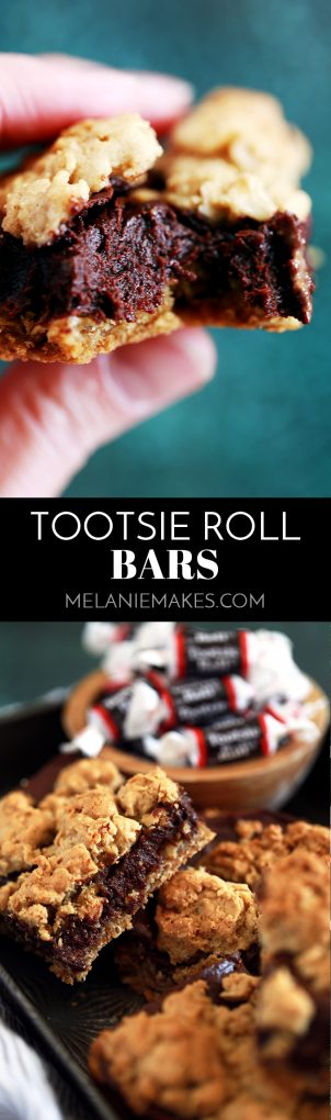 These Tootsie Roll Bars take just 15 minutes to prepare and are perfect for your next potluck, family gathering or holiday yet so delicious, you'll find yourself making them on a weekday just to get your fix! An oatmeal cookie type base is flooded with a fudgy Tootsie Roll like ganache that's then covered with additional dollops of the base mixture. Decadence at it's finest! #tootsieroll #bar #dessert #easydessert #oatmeal