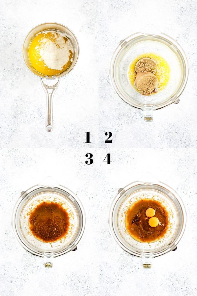 How to prepare Tootsie Roll Bars, steps 1-4.