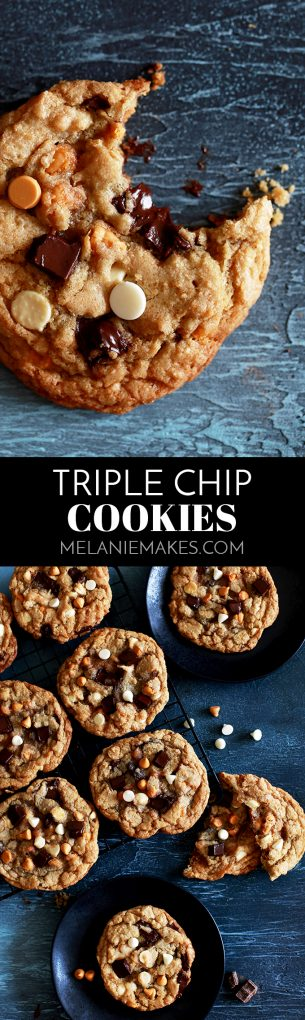 These large bakery style Triple Chip Cookies look like something you'd tell a barista to add to your usual morning drink order.  Soft and chewy in the middle and crisp around the edges, these cookies are loaded with dark chocolate chunks, white chocolate chips and butterscotch chips. #cookies #chocolatechipcookies #butterscotch #dark chocolate #whitechocolate #chocolatechunk #easydessert