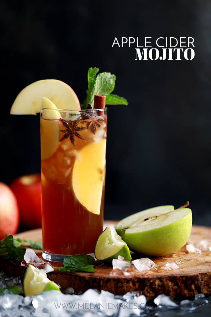There is absolutely no reason why this Apple Cider Mojito should work.  None.  Mint and apple cider?  I mean, what rational mind thinks that they're a perfect marriage?  Me neither.  But rest assured, they absolutely do.  It's like a caramel apple in cocktail form.  And I'm betting the reason it works so well is my Brown Sugar Simple Syrup.