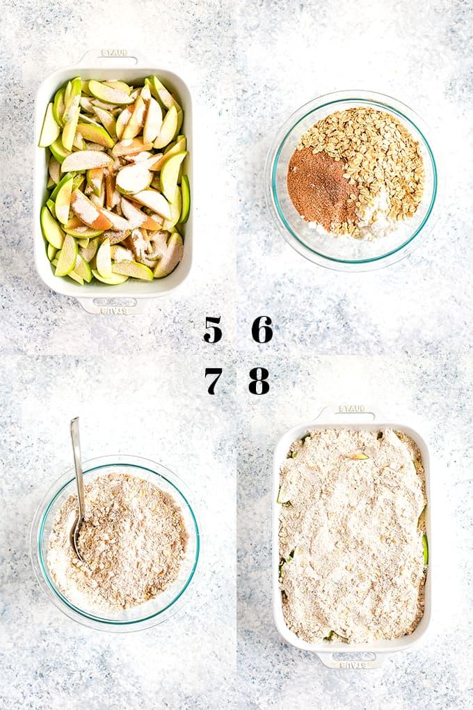How to prepare Snickerdoodle Apple Crisp, steps 5-8.