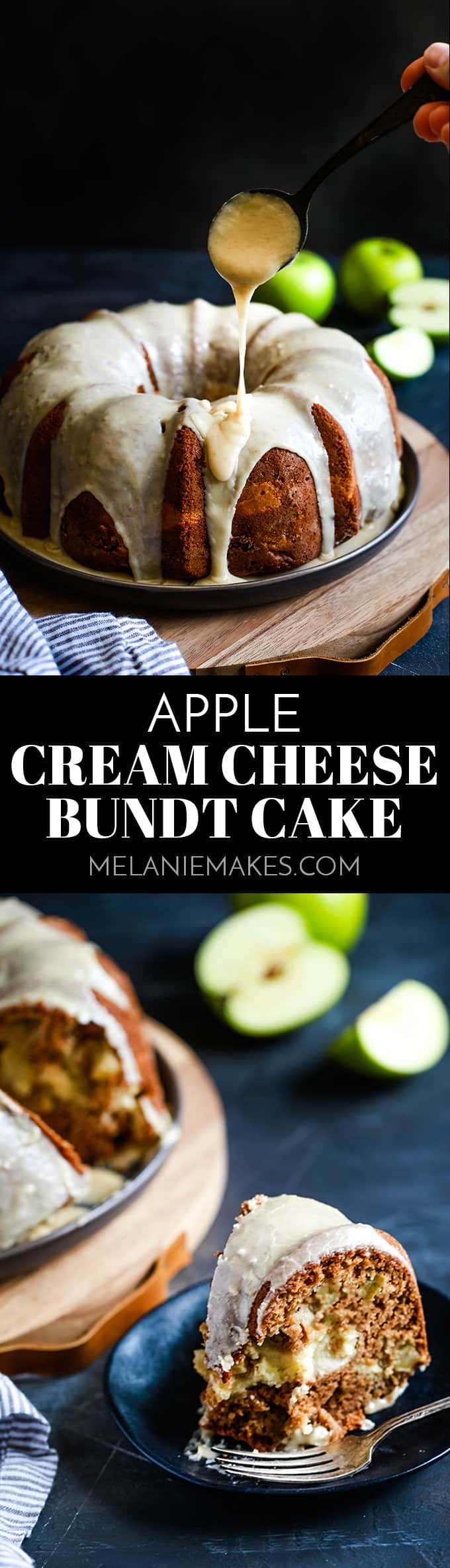 This Apple Cream Cheese Bundt Cake recipe is the perfect fall - or anytime! - dessert.  I dare you not to fall in love with this cinnamon spiked, apple studded cake with a tunnel of cream cheese baked inside and cloaked with caramel icing. #apples #applecake #cake #cakerecipes #icing #caramel #autumn #fallrecipes