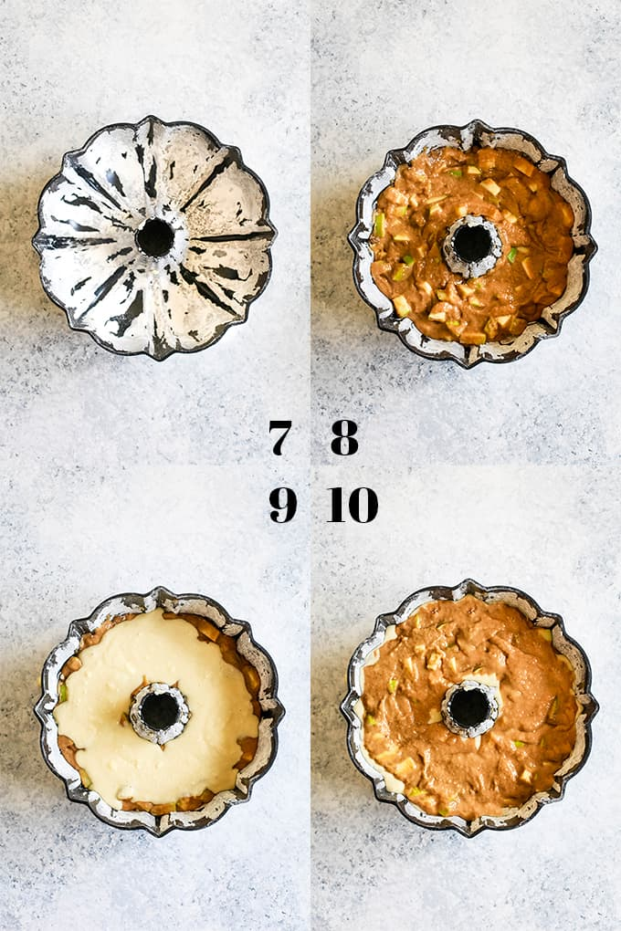 Step by step photos of how to add batter to a bundt pan to create a Apple Cream Cheese Bundt Cake.