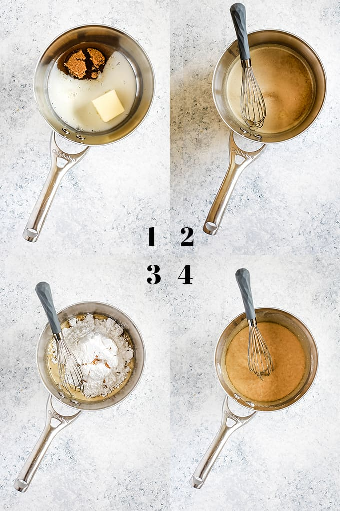 Step by step photos of how to make Homemade Caramel Icing in a saucepan with a whisk on a speckled background.