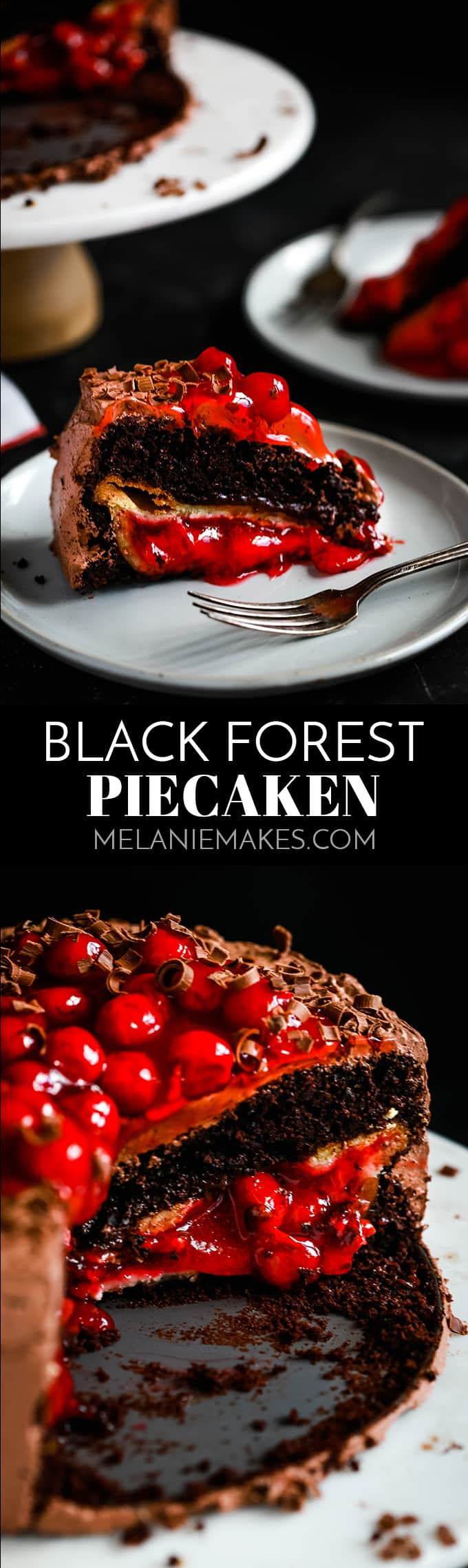 What is a Black Forest Piecaken, you ask?  A whole cherry pie is baked within a fudgy chocolate cake and it takes just minutes to prepare! #blackforest #blackforestcake #chocolatecake #cherrypie #pie #chocolate #frosting