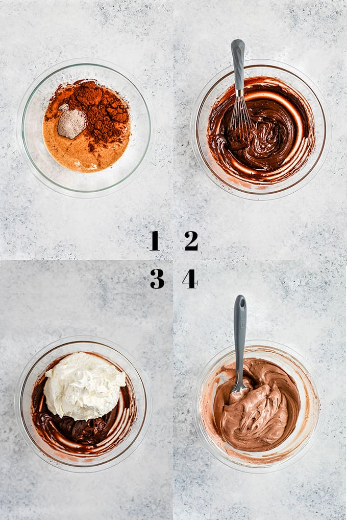 Step by step photos of how to create Chocolate Cool Whip Frosting.