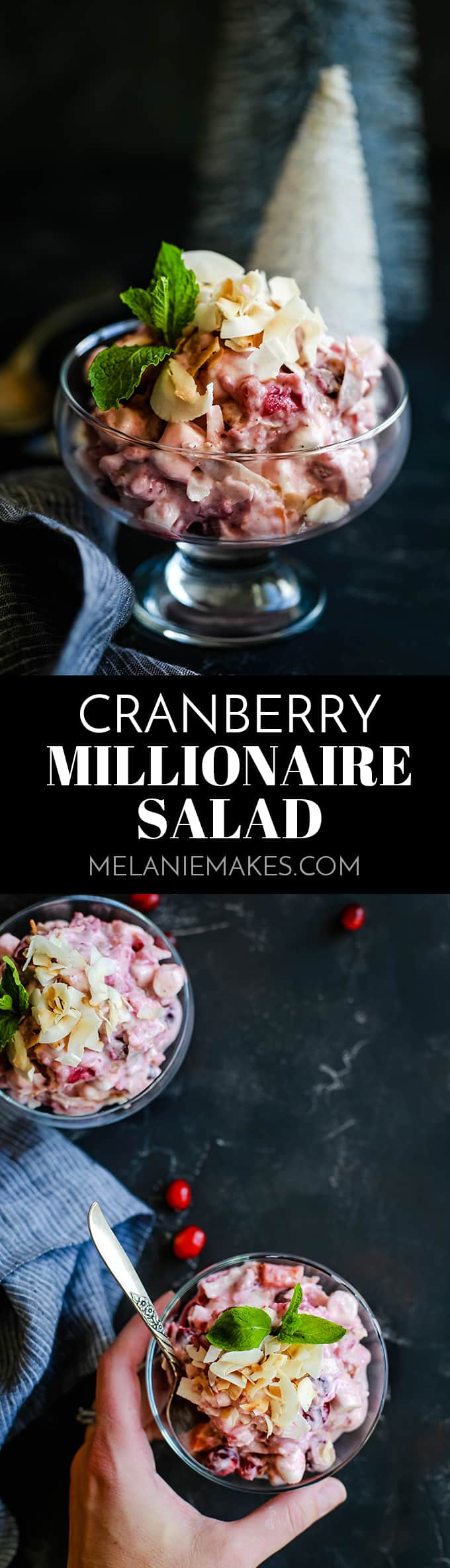 This make ahead four ingredient Cranberry Millionaire Salad will no doubt be the easiest - and most delicious! - side dish at your holiday table! #cranberry #cranberrysauce #millionaire #salad #thanksgiving #christmas #marshmallows