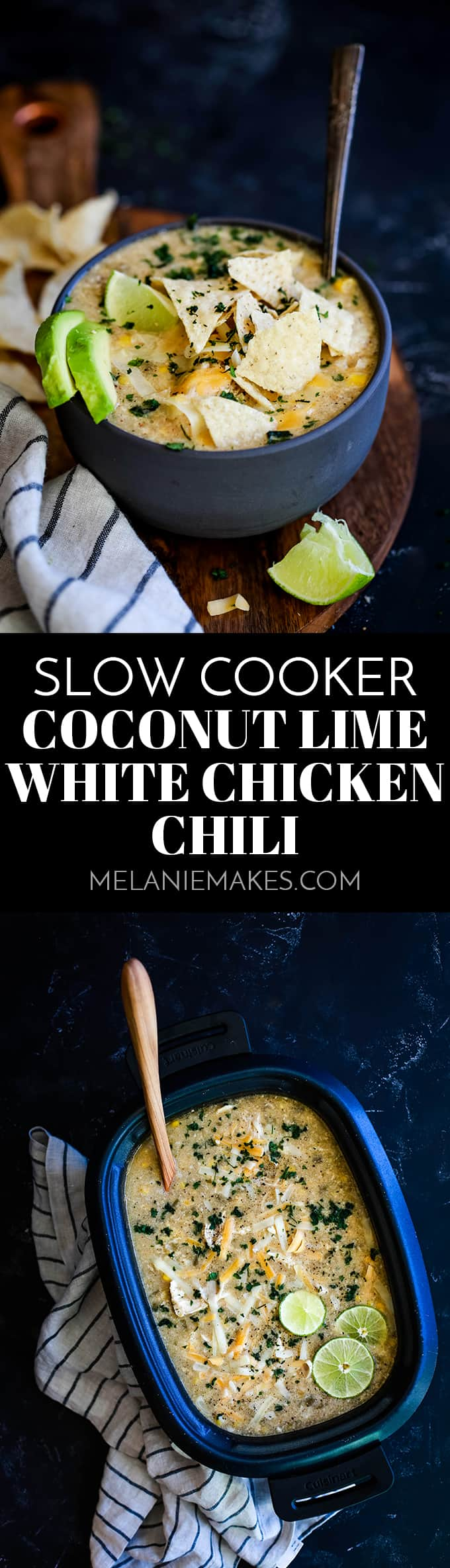 This crazy easy and super flavorful Slow Cooker Coconut Lime White Chicken Chili is a comforting bowl perfect for any day of the week. #slowcooker #crockpot #soup #chili #chicken #chickenrecipes #lime #coconut