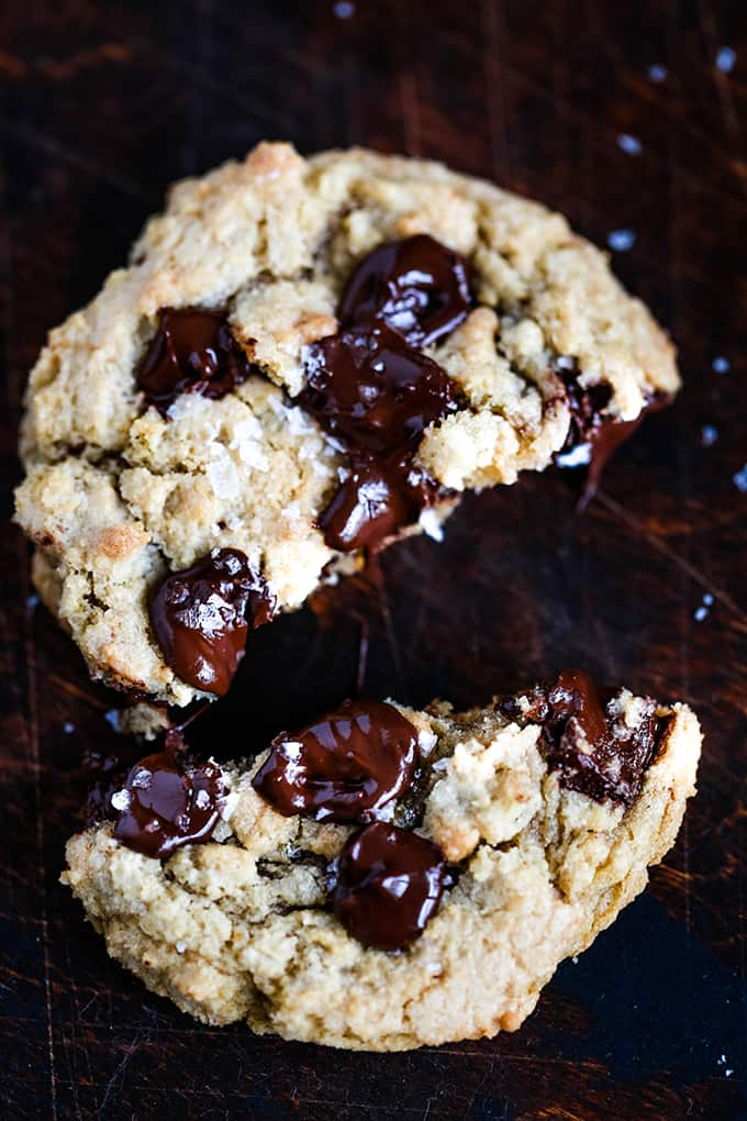A Salted Chocolate Chunk Cookie cut in half.