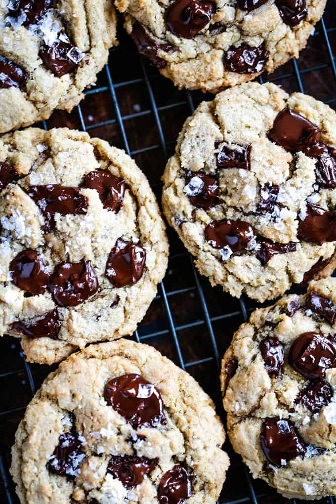 Salted Chocolate Chunk Cookies on a cooling rack.