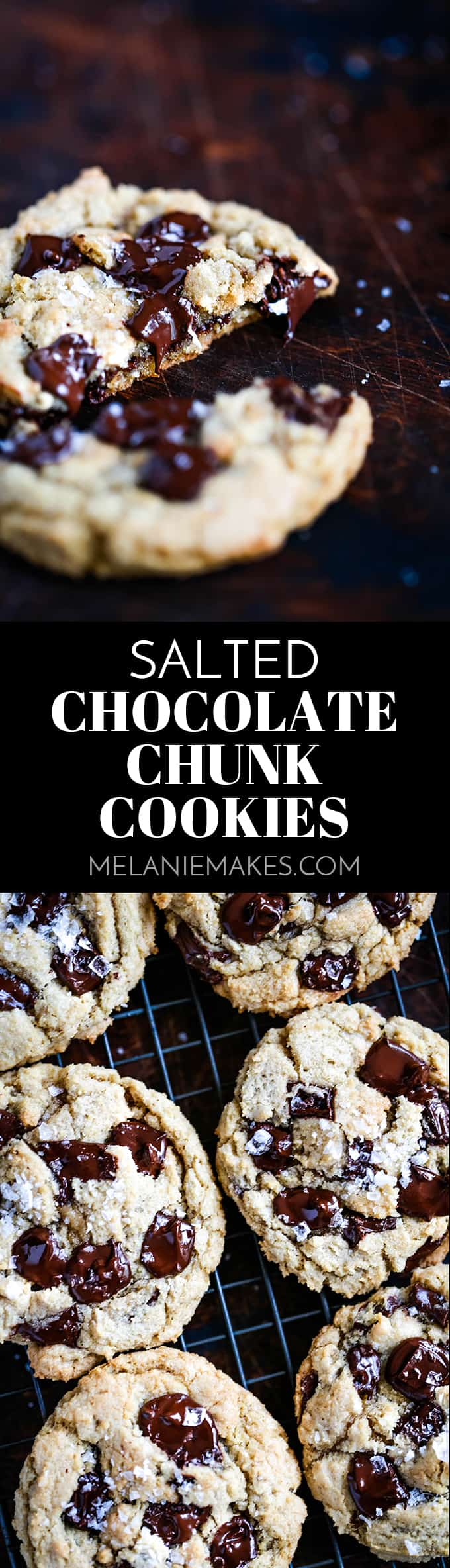 Studded with dark chocolate chunks and sprinkled with sea salt flakes, these soft and chewy Salted Chocolate Chunk Cookies are insanely delicious. #cookies #chocolate #salt #cookierecipes #desserts #easyrecipe