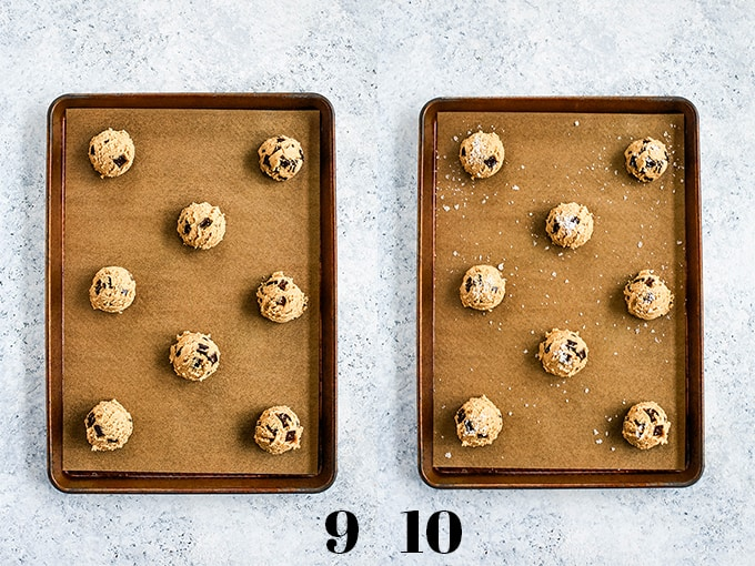 How to prepare Salted Chocolate Chunk Cookies, steps 9-10.