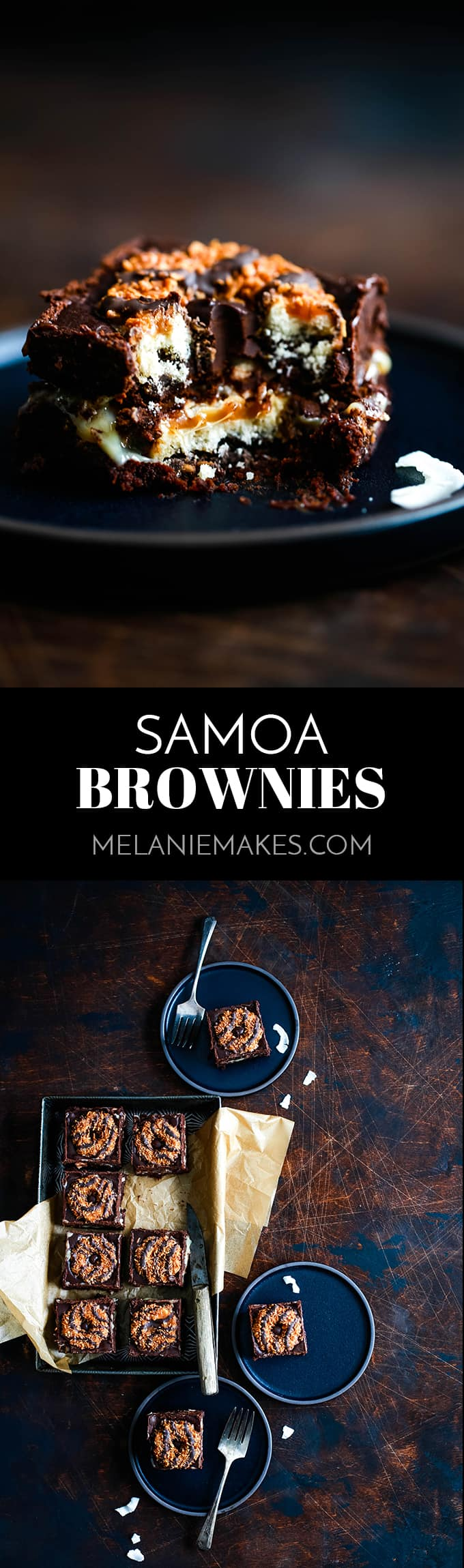 This decadent Samoa Brownies recipe has it all!  Fudgy brownie, two layers of Samoa Girl Scout cookies, dulce de leche, coconut and chocolate ganache. #brownies #chocolate #cookies #caramel #coconut #desserts