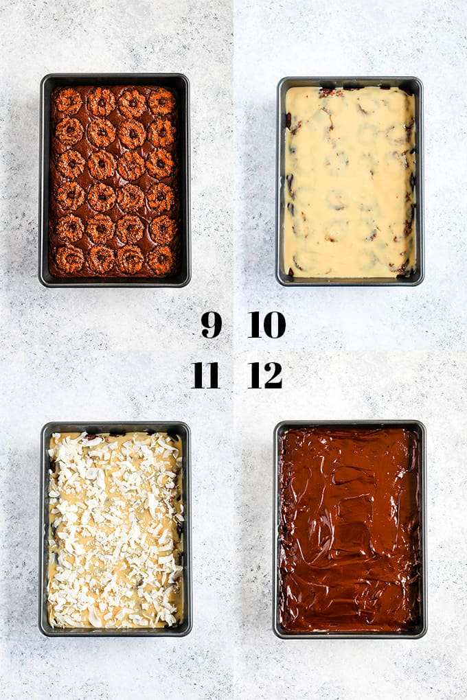 How to prepare Samoa Brownies, steps 9-12.