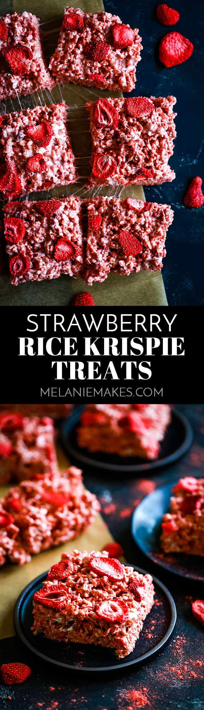 These Strawberry Rice Krispie Treats have three layers of strawberry flavor and take just 10 minutes to prepare. The perfect springtime treat! #strawberry #ricekrispietreats #nobake #desserts #easyrecipe