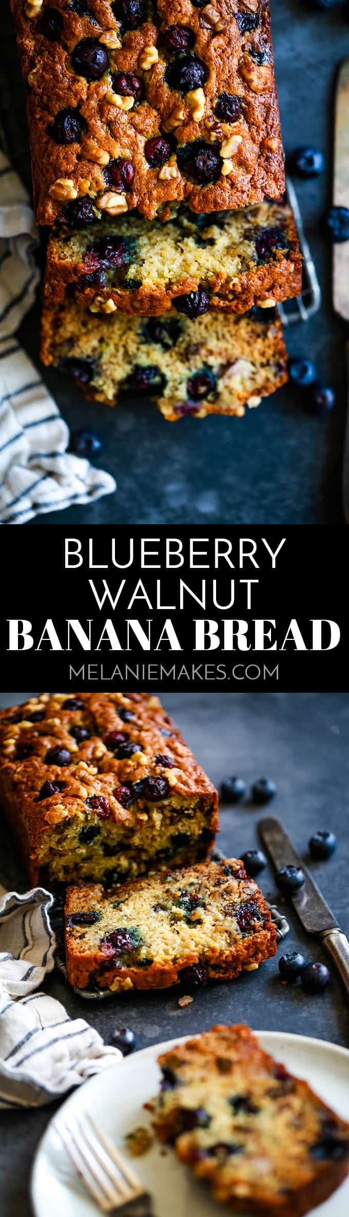 Each loaf of this Blueberry Walnut Banana Bread is packed with four bananas and a cup each of walnuts and blueberries.  It's no wonder it disappears so quickly! #blueberry #walnut #banana #bananabread #bread #easyrecipe