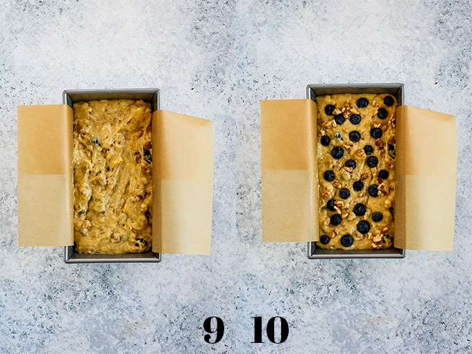 How to make Blueberry Walnut Banana Bread, steps 9-10.